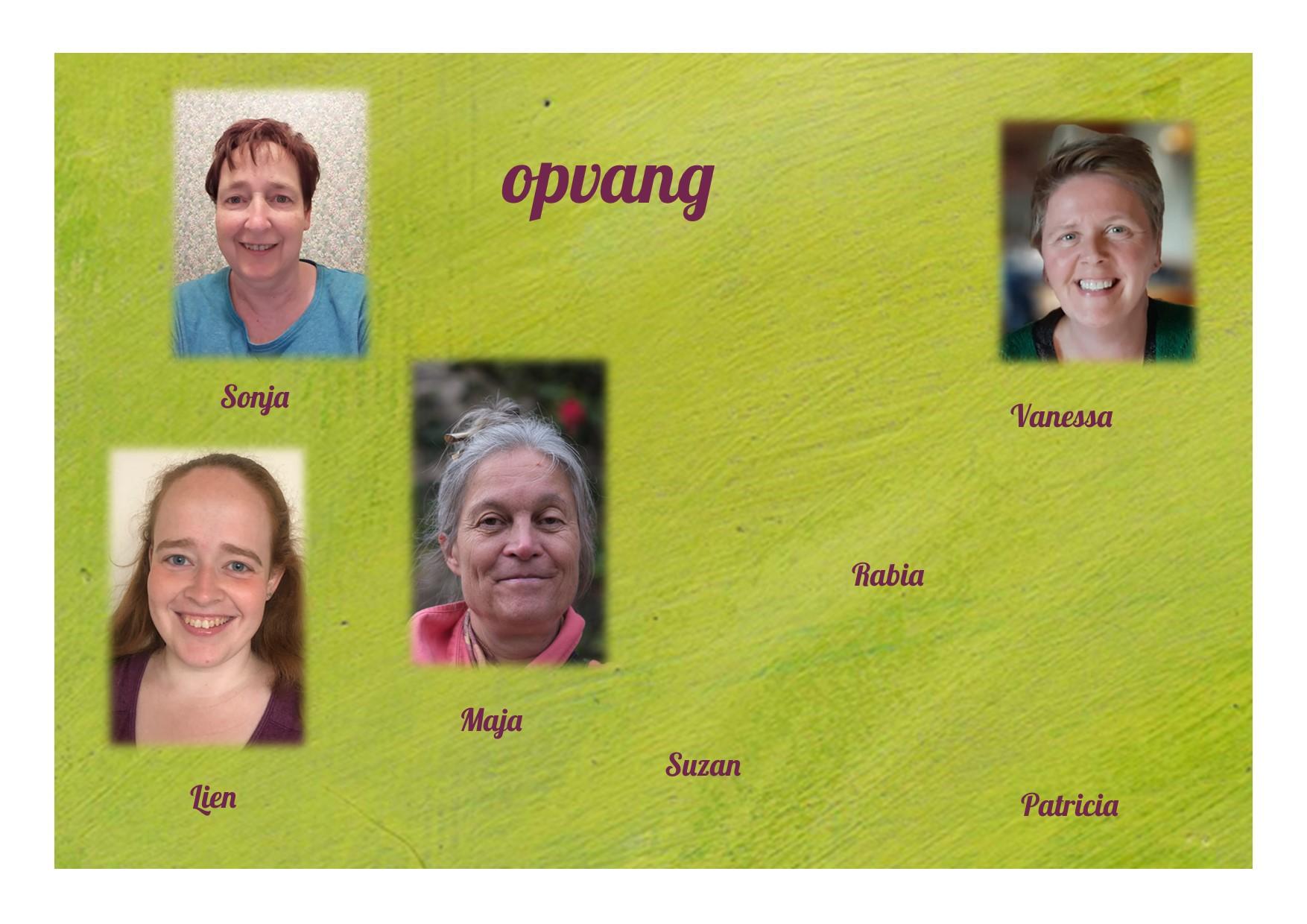 <p>buitenschoolse opvang: juf Lien, juf Sonja, juf Maja, juf Suzan, juf Rabia, juf Vanessa, juf Patricia …</p>