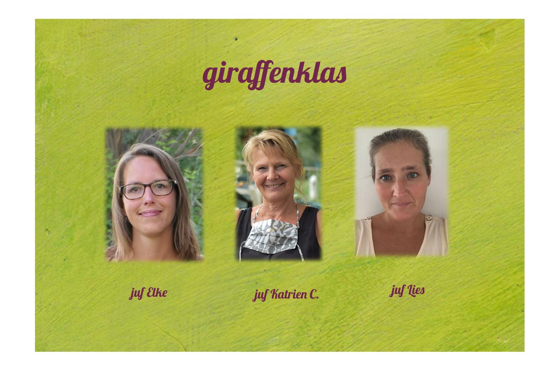 <p>2K: giraffenklas: juf Elke, juf Katrien en juf Lies</p>